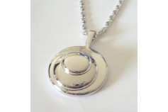 "Magnetic Necklet 'Circles Charm' - silver plated finish (62cm (25"") Fancy ""S"" chain)"