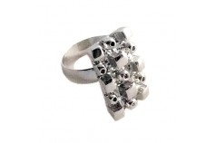 Magnetic Ring 'Abstract' - Silver Rhodium Plate