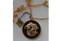 Magnetic Necklet 'Jade Dragon Medallion' - Genuine Jade, gold plate finish.