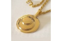 "Magnetic Necklet 'Circles Charm' - gold plated finish (62cm (25"") Fancy ""S"" chain)"