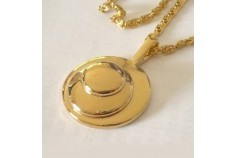 """Magnetic Necklet 'Circles Charm' - gold plated finish (62cm (25"""") Fancy """"S"""" chain)"""