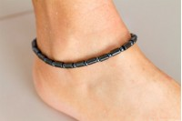 Magnetic Hemitite Stretch Anklet - Oblong Bead - (Retractable Gel)