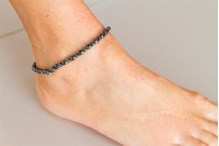Magnetic Hemitite Stretch Anklet - Oval Bead - (Retractable Gel)