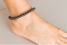 Magnetic Hemitite Stretch Anklet - Round Bead - (Retractable Gel)