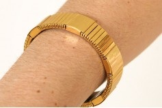 Magnetic Expandable 'Chunky' Goldtone Stainless Steel Bracelet