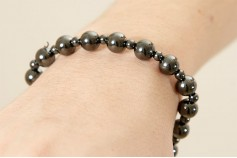 Magnetic Hemitite Stretch Bracelet - Round Bead - (Retractable Gel)