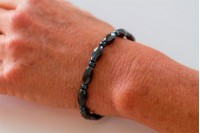 Magnetic Hemitite Stretch Bracelet - Diamond Cut Bead - (Retractable Gel)