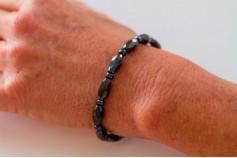 Magnetic Hemitite Stretch Bracelet - Diamond Cut Bead - (Retractable Gel)