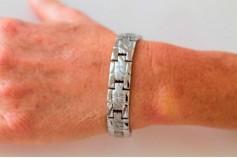 Magnetic Bracelet 'Austin' Stainless Steel - Silvertone