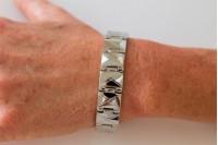 Magnetic Bracelet 'Garrison' Stainless Steel - Silvertone