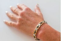 Magnetic Bracelet 'Matrix' Stainless Steel - Goldtone