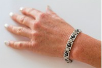 Magnetic Bracelet 'Matrix' Stainless Steel - Silvertone