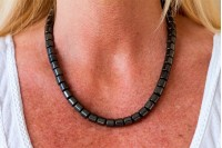 Magnetic Hemitite Stretch Necklet 46cm - XL Barrel Bead - (Retractable Gel)