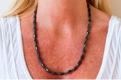 Magnetic Hemitite Stretch Necklet 56cm - Diamond Cut Bead - (Retractable Gel)